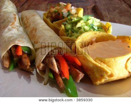 Mexican Chicken Burritos With Sauces