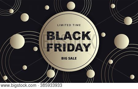 Black Friday Dark Golden Abstract Banner. Black Friday Luxury Banner Template With Black And Gold Ab