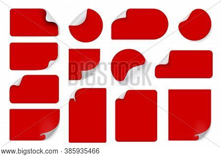 Red Price Stickers. Labels With Wrapped Corners. Vector Illustration Edge Corner Sheets Bundled For
