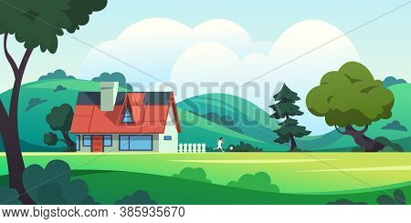 Forest House. Countryside Cartoon Landscape With Rural Building Among Trees And Summer Nature Scene.