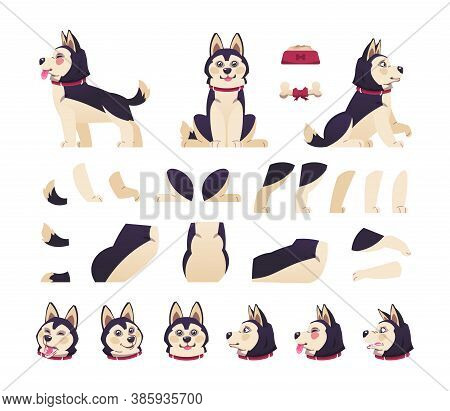 Dog Animation. Cute Cartoon Pet Motion Set With Moving Body Parts, Happy Puppy Different Postures. V