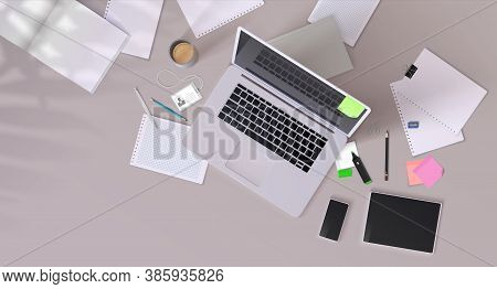 Office Desk. Realistic Mockup With Modern Devices, Workplace With Desktop Computer, Cup Of Coffee An