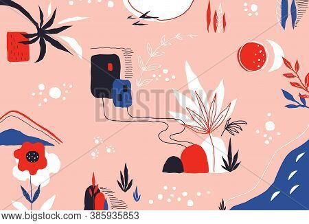 Scribble Background. Modern Colored Pattern With Exotic Leaves And Abstract Trendy Shapes. Vector Ha
