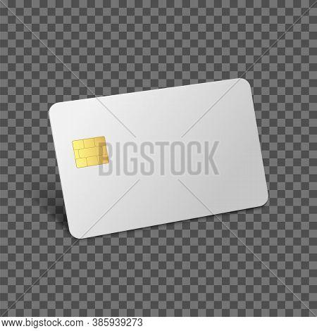 Credit Card Mockup. Debit 3d Realistic Vector Bank Blank Card. Vector Plastic Empty Chip Card