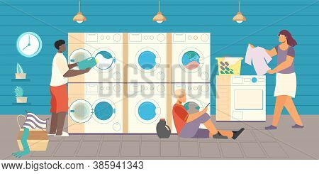 Public Laundry Flat Composition With View Of Self Service Laundry With Washing Machines Bowls And Pe