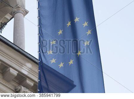 European Union Flag, Blue Flag With Yellow Stars Representing The Eu