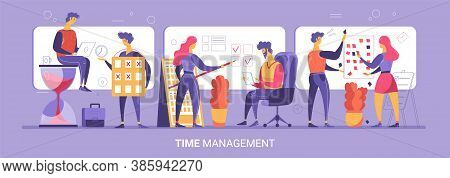 Time Management 3 Flat Compositions With Employees Sitting On Hourglass Planning Scheduling Tracking
