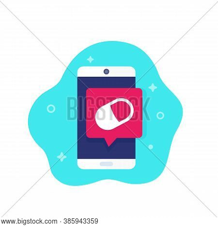 Pill Reminder App, Vector Icon, Eps 10 File, Easy To Edit