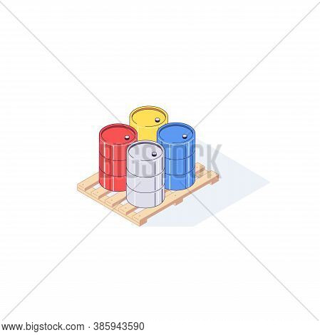 Isometric Pallet With Metal Barrels. 3d Pallets Cargo Goods Fuel Benzin Petrol Gas And Combustible V
