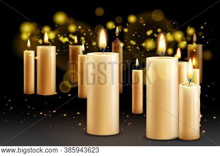 Realistic Candles Background With Burning Candles Of Different Size With Flame And Blurred Specks Of