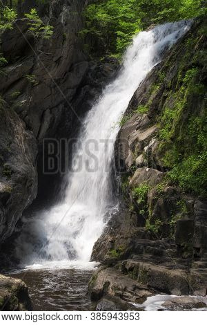 A Small Pool Of Water At The Base Of Campbell Falls In The Berkshires Of Western Massachusetts On A