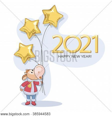 Calf 2021. New Years Bull. Postcard. Cute Little Calf With Balloons In The Shape Of A Golden Star.
