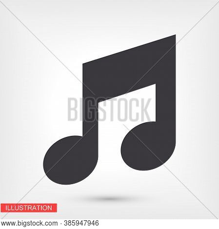 Music Icon In Trendy Flat Style Isolated On Background. Note Symbol For Your Web Site Design, Logo,