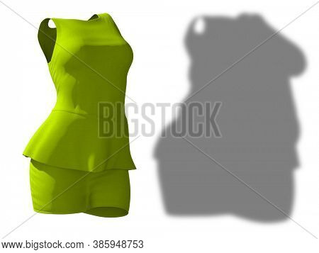 Conceptual fat overweight obese shadow female blouse and skirt vs slim fit healthy body after weight loss or diet thin young woman isolated. A fitness, nutrition, obesity health shape 3D illustration