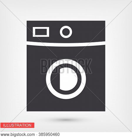Washing Machine Icon. Vector Eps 10 Flat Design Wash Home Housework