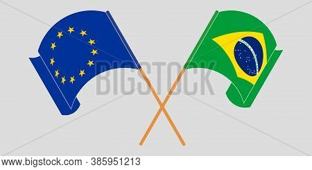Crossed And Waving Flags Of Brazil And The Eu. Vector Illustration