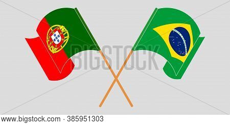 Crossed And Waving Flags Of Brazil And Portugal. Vector Illustration