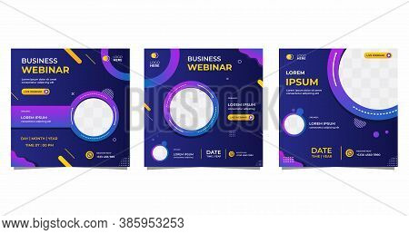 Collection Of Social Media Post Templates. Vector Graphics Of Dark Blue And Purple Background, Perfe