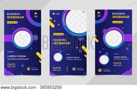 Collection Of Social Media Story Post Templates. Vector Graphics Of Dark Blue And Purple Background,