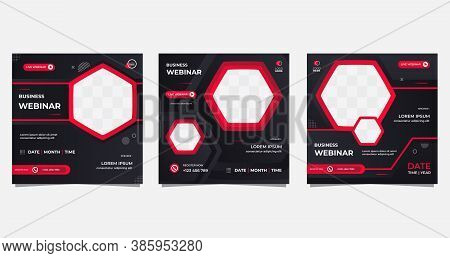 Collection Of Editable Geometric Banner Template. Black And Red Background Color With Hexagon Frame