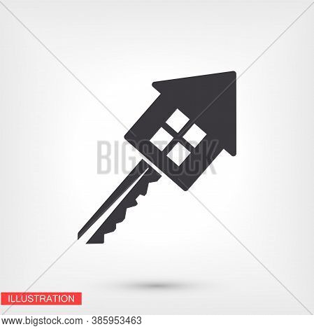 House Key Icon. Eps 10 Vector. Flat Design Of Key And House. Connection Of The House With The Key. V