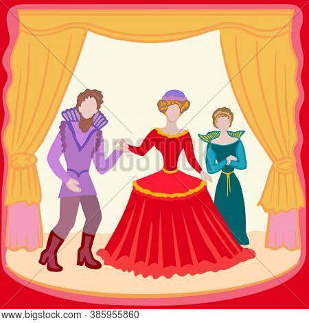 Theatre Actors - Vector Colourful Characters, Professionals, People In Costumes Are Playing Scene. T