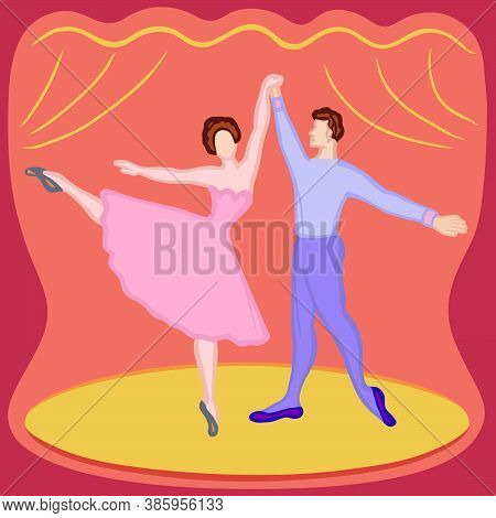 Ballet Actors - Illustrated Performance. Dancing Ballerina And Man. Colourful Characters, Profession