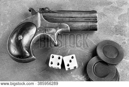 Antique Gamblers Derringer Pistol Made In 1865 In Black And White.