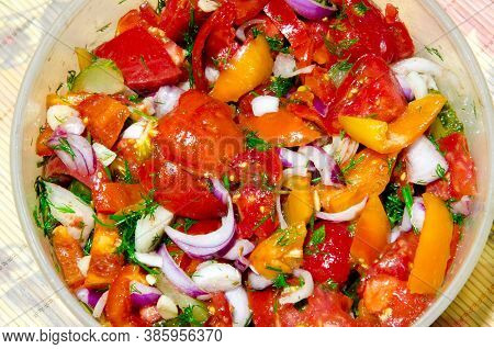 Delicious Vitamin Salad Made From Fresh Juicy Vegetables.