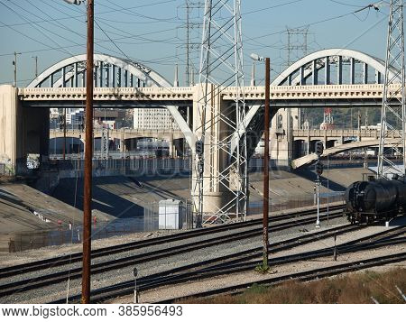 Los Angeles, California, USA - January 15, 2009:  Archival view of the old Los Angeles 6th Street bridge between downtown and Boyle Heights.  The bridge was demolished in 2019.