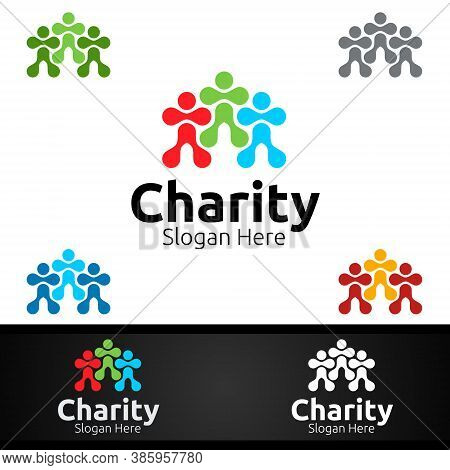 Human Helping Hand Charity Foundation Creative Logo For Voluntary Church Or Charity Donation