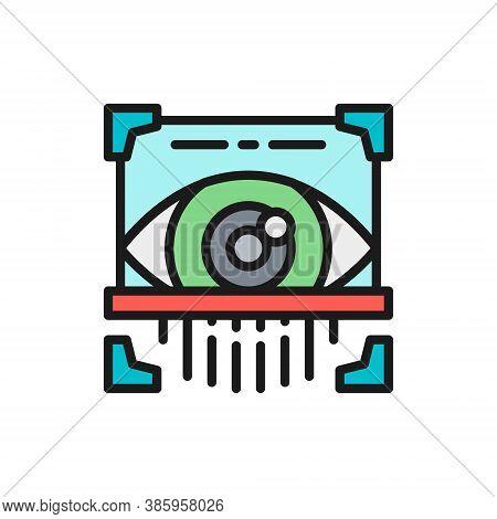 Eye Scan, Retina Scanner, Id Identity Flat Color Line Icon.