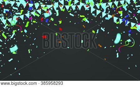 Celebration Background Template With Confetti And Variety Colors Ribbons.