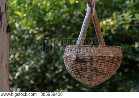 Ancient Wooden Water Scoop For Scooping Water. At Time Of Scooping The Rope, Put Wooden Water Scoop