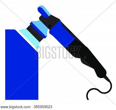 Manual Car Polishing Machine, Device. Pre Sale Polishing Of Car In Service Center. Vector Icon In Fl