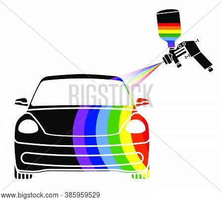 Air Brush Logo With Spray Of Paint In Rainbow Colors Paints A Car. Accurate Color Matching In Worksh