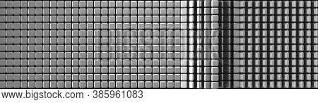 Abstract Dark Grey Metal Cubes Polygon Wall Pattern Background. 3d Render Dark Grey Cubic Polygon Wa