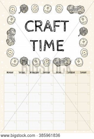 Craft Time Hygge Month Calendar With With Candles And Yarn Ornament. Cozy Boho Planner With Candles