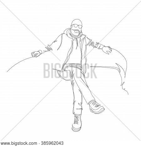 A Man Is Sitting On A Sofa. Infinite Line. Vector Contour Image. One Line