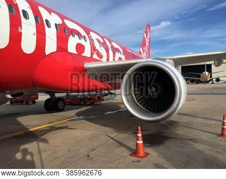 Don Muang, Bangkok, Thailand, June 6, 2018: Jet Engine Generate Thrust Under The Wing Of Thai Airasi