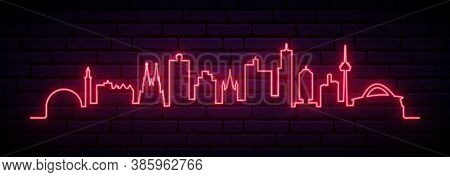 Red Neon Skyline Of Cologne. Bright Cologne City Long Banner. Vector Illustration.