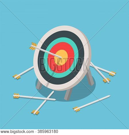 Flat 3d Isometric One Of Many Arrow Hitting On The Center Of Target. Business Success And Competitio