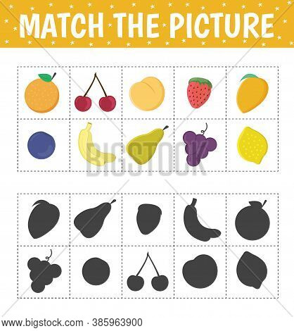 Connect The Fruit And The Correct Shadow. Flash Cards. Children's Educational Game. Vector Illustrat