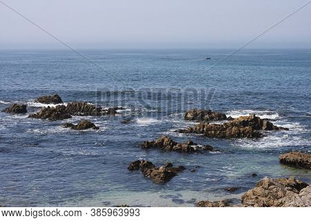 This Is An Image Of Rocks And Sea Along The Asilomar Reserve Coast In Paciific Grove, California.