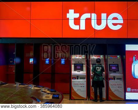 Bangkok, Thailand - March 28, 2019: True Move Shop Service To Customers And People, Icon Siam Bangko