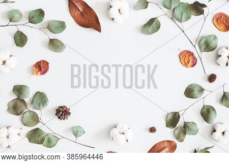 Autumn Composition. Frame Made Of Eucalyptus Branches, Cotton Flowers, Dried Leaves On Pastel Gray B