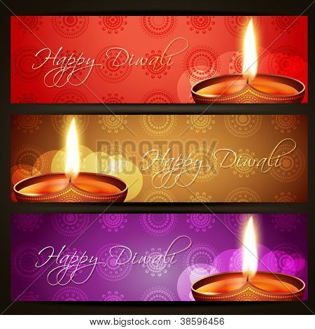 beautiful vector happy diwali headers set