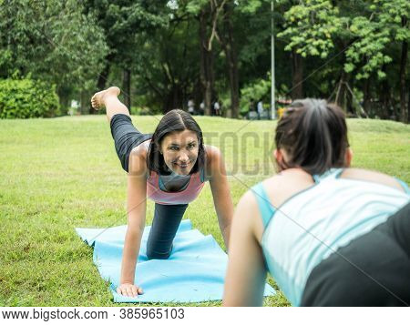 Nature For Life, Mother And Daugther Fitness In The Park.