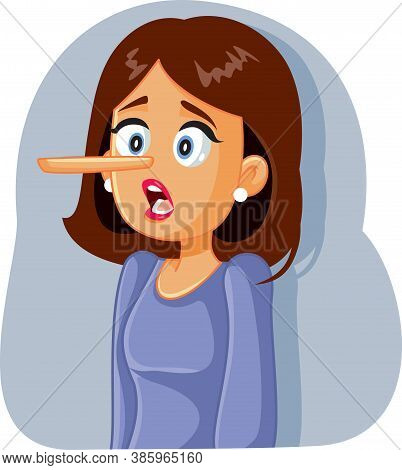 Lying  Woman With Long Nose Vector Cartoon