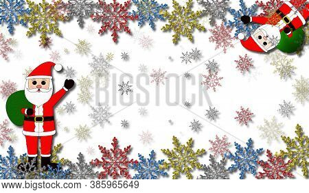 Beautiful Christmas Background With Santa Claus And Snowflakes